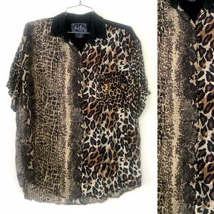 Vintage 1990's animal prints leopard rayon shirt